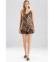 natori luxe leopard cami tap pajamas set, lingerie, women's, chestnut, size l natori