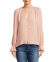joie women's bolona long puff-sleeve blouse - porcelain - size xl