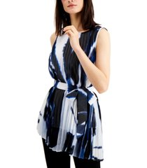 alfani belted pleated abstract top, created for macy's
