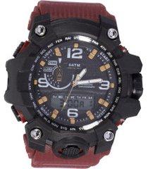 relógio digital analógico speedo 81123g0ev - masculino - preto/vermelho