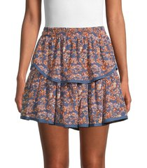 allison new york women's floral-print tiered mini skirt - multi floral - size l