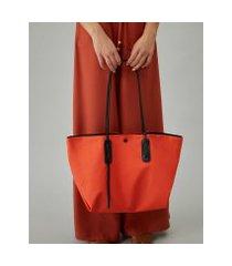 amaro feminino shopping bag de nylon, laranja queimado
