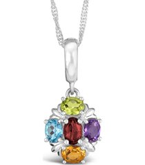 multi-gemstone (1-5/8 ct. t.w.) pendant necklace in sterling silver