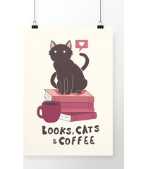 poster books, cats and coffee