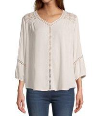 john paul richard lace-trim blouse