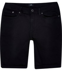 river island mens big & tall black skinny denim shorts