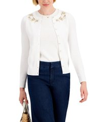 charter club embroidered button-down cardigan, created for macy's