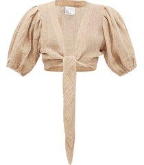 tie-front puff sleeve linen-blend gauze blouse