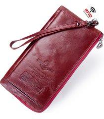 portafoglio rigido per porta carte ultra rigido ultrasottile in vera pelle rfid antimagnetico per donna