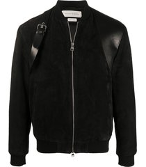alexander mcqueen buckle detail zip-up jacket - black