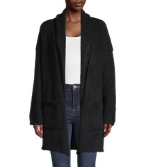rd style women's textured open-front cardigan - black - size m