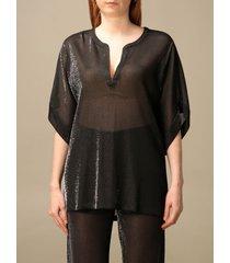emporio armani top emporio armani blouse in sheer lurex fabric