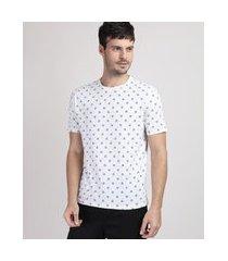 camiseta masculina estampada de triângulos manga curta gola careca off white