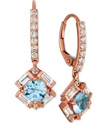 le vian baguette frenzy multi-gemstone (1-9/10 ct. t.w.) & diamond (1/3 ct. t.w.) drop earrings in 14k rose gold