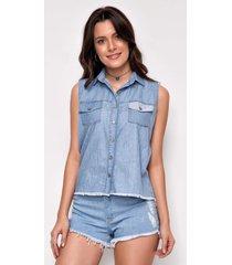 camisa jeans zait regata magali azul marinho - azul marinho - feminino - dafiti