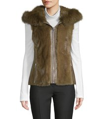 dyed mink & fox fur hooded gilet