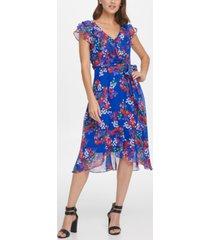 dkny ruffled floral-print dress