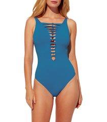 women's bleu by rod beattie knotted detail one-piece swimsuit, size 8 - blue