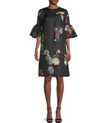 oscar de la renta women's day floral bell-sleeves dress - black multi - size 0