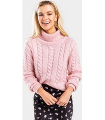 cindy fuzzy cable knit sweater - pink
