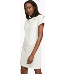 tommy hilfiger women's essential short-sleeve pocket dress ivory - 12