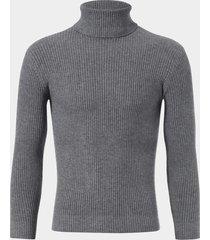 suéter ajustado de punto de manga larga con cuello alto informal para hombre