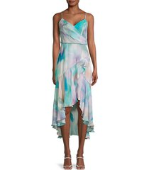 parker women's denver abstract high-low dress - pastel swirl - size 2
