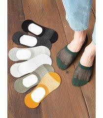 7 pairs mesh silica gel anti skid slip-on socks set