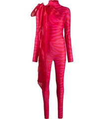 atu body couture oversize bow detailed jumpsuit - pink