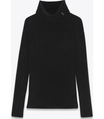 saint laurent ribbed turtleneck pullover in black wool and cashmere