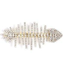 glass crystal fish bone hair clip