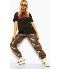 acid wash gebleekt chicago t-shirt met tekst t-shirt, charcoal