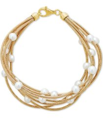 cultured freshwater pearl (5-1/2mm) multi-row bracelet in 14k gold-plated sterling silver