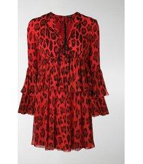 tom ford leopard printed frilled dress