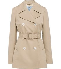 prada double-breasted belted blazer - neutrals