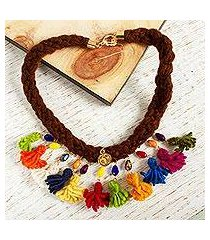 wool braided pendant necklace, 'sweetness of my country' (mexico)