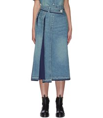 contrast panel asymmetric pleat denim skirt