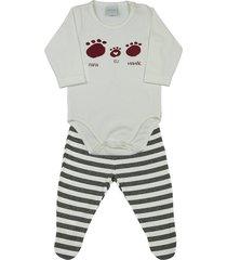 conjunto pijama bebê ano zero cotton e malha listrada capri papai eu mamãe mescla g