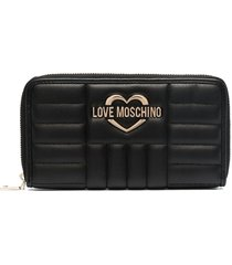 love moschino logo plaque quilted wallet - black