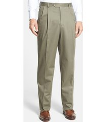 men's berle pleated classic fit cotton dress pants, size 36 x unhemmed - green