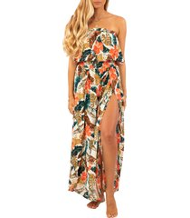 women's rip curl tropic coast strapless popover maxi dress