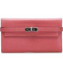 hermes kelly leather wallet pink sz: