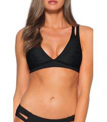 women's soluna clear skies halter bikini top, size d - black