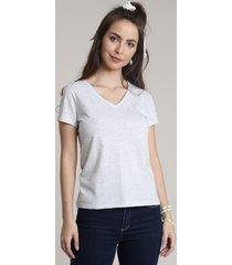 blusa feminina básica decote v manga curta cinza mescla claro