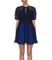 puff sleeve ruffle lace dress