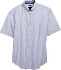 pronto uomo light blue stripe short sleeve sport shirt
