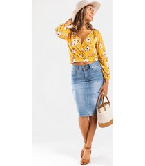 emalla midi denim skirt - medium wash