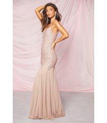 bridesmaid hand embellished godet mesh maxi dress, blush