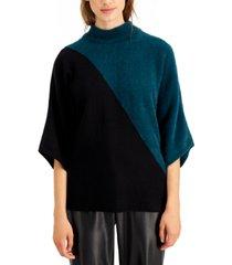 alfani petite colorblocked mock-neck sweater, created for macy's