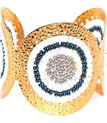 brazalete imperial baño oro tejido blanco bijulovers